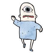cartoon cyclops - stock illustration