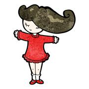 cartoon girl with hair blowing in wind - stock illustration