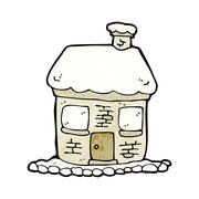 Stock Illustration of snowy cottage cartoon