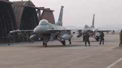 421st Fighter Squadron F-16s Arrive Osan AFB, South Korea Stock Footage
