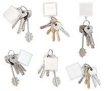 Set of bunch of door keys with blank keychain Stock Photos
