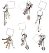 Set of bunch of home keys with blank keychain Stock Photos