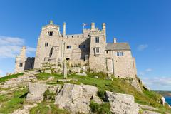 View from St Michaels Mount Marazion Cornwall England UK medieval castle - stock photo