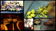 Food multi screen ,gyros,kebab,roll puff pastry ,chinese dinner,barbecue   Stock Footage