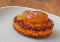 deep fried camembert with pear cinnamon marmelade - stock photo