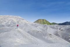 Man journey to white mountain hills - stock photo