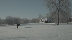 Snow-covered picnic area Stock Footage