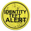 Stock Illustration of warning sign with word identity theft alert