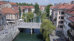 AERIAL: River canal in old town Stock Footage
