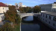 Stock Video Footage of AERIAL: Trees on Ljubljanica riverbank