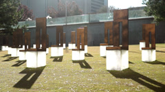 Oklahoma City National Memorial Field of Empty Chairs Stock Footage