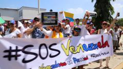 Venezuelan Protesters on the Streets of Panama City, Panama Stock Footage