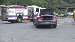 Fire truck exits tractor trailer van accident Stock Footage