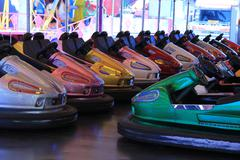 dodgem cars in a row - stock photo