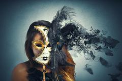 Beautiful woman in carnival mask Stock Illustration