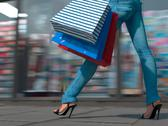 Stock Illustration of Walking shopping woman holding bag on the city square close up