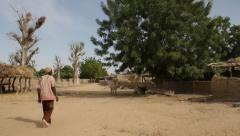 Africa - Quiet village with Baobabs Stock Footage