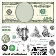 Vector $100 dollar bill template set Stock Illustration