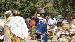 Africa - Mali market pan Stock Footage