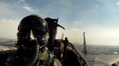 F-15 cockpit footage pilots view - stock footage