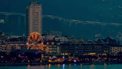 Montreux at sunset during Christmas - time lapse - stock footage