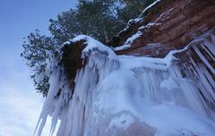 Apostle Islands Sea Caves - giant icicles on cliffs Stock Photos