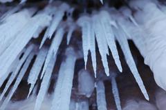 Apostle Islands Sea Caves - large icicles - stock photo