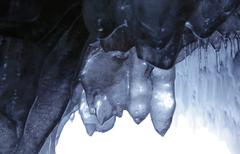 Apostle Islands Sea Caves - translucent icicles in cave Stock Photos