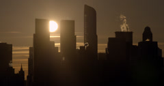 Sunrise Between the Columbus Towers Stock Footage