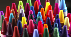 Stock Video Footage of Spinning Colorful Crayons in 4K