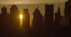 Sun Rise on the Midtown Manhattan Skyline Stock Footage