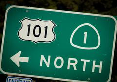 Stock Photo of interstate 101 and pch highway sign from california