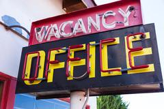Vintage neon vacancy office sign Stock Photos