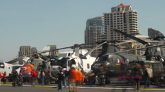 Helicopters at USS Midway Time Lapse Stock Footage