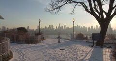 The Manhattan Skyline from a Snow Dusted Trail Stock Footage