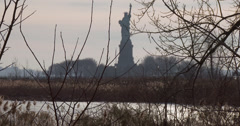 Statue of Liberty from Liberty State Park Stock Footage