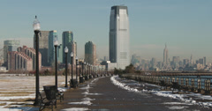 Downtown Manhattan Seen from Liberty State Park Stock Footage