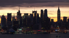 Stock Video Footage of The Midtown Manhattan Skyline at Sunset