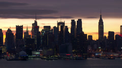 Midtown Manhattan Skyline at Sunset Stock Footage