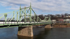 The Northampton Street Bridge on a sunny fall day Stock Footage