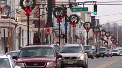 Christmas Wreaths line a small town in Pennsylvania. Stock Footage