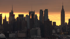 Late Afternoon Sunset on the Manhattan Skyline - stock footage