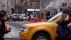 Pedestrians Crossing a NYC Street Stock Footage