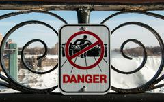 NIagara Falls Danger Sign - stock photo