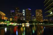 Stock Photo of Downtown Los Angeles Water Reflection