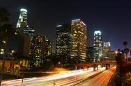 Stock Photo of Downtown Los Angeles and Freeway