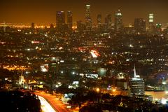 Downtown Los Angeles at Nigth Stock Photos