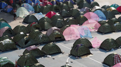 Tents of Protesters Occupying Siam Square in Bangkok, Thailand Stock Footage