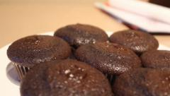 Plate of Chocolate Muffins Stock Footage