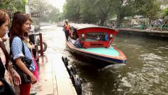 Canal (Khlong) Tranportation in Bangok, Thailand Stock Footage